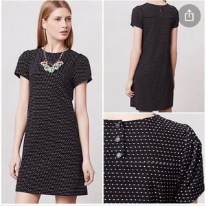 Anthropologie Polka Dot Black Shift Dress Sz Small